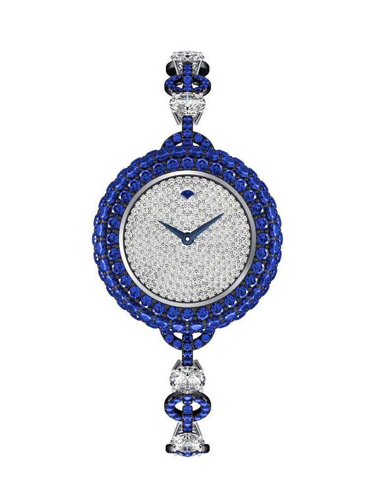 The Graff Halo, presented in a small 25mm white gold case, combines diamonds and blue sapphires to create a refined cocktail watch.