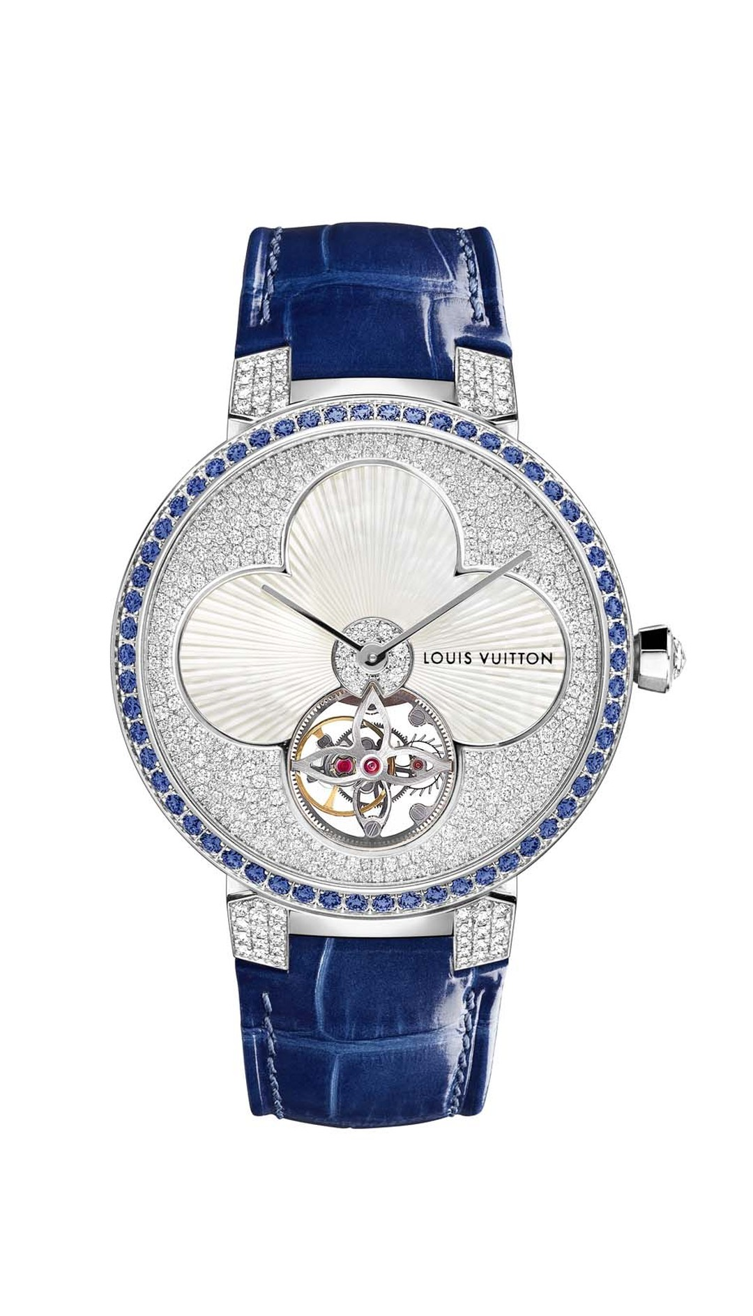 Louis Vuitton watches Tambour Monograph Sun Tourbillon marries its symbolic flower and star logos to the sophisticated mechanical show of a tourbillon. The white mother-of-pearl flower in the centre sits pretty in a bed of snow-set diamonds framed by 58 b