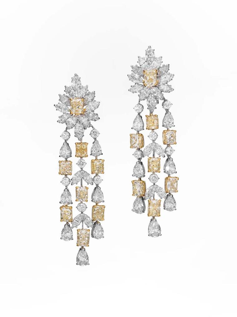 The matching white and Fancy yellow diamond earrings from Butani's High Jewellery collection. The necklace and earring suite is set with a hefty 250ct of diamonds.