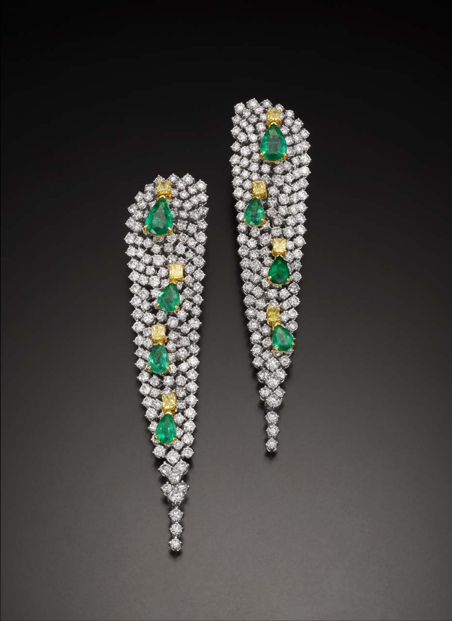 Emerald, yellow diamond and white diamond Water Lily earrings by Butani.