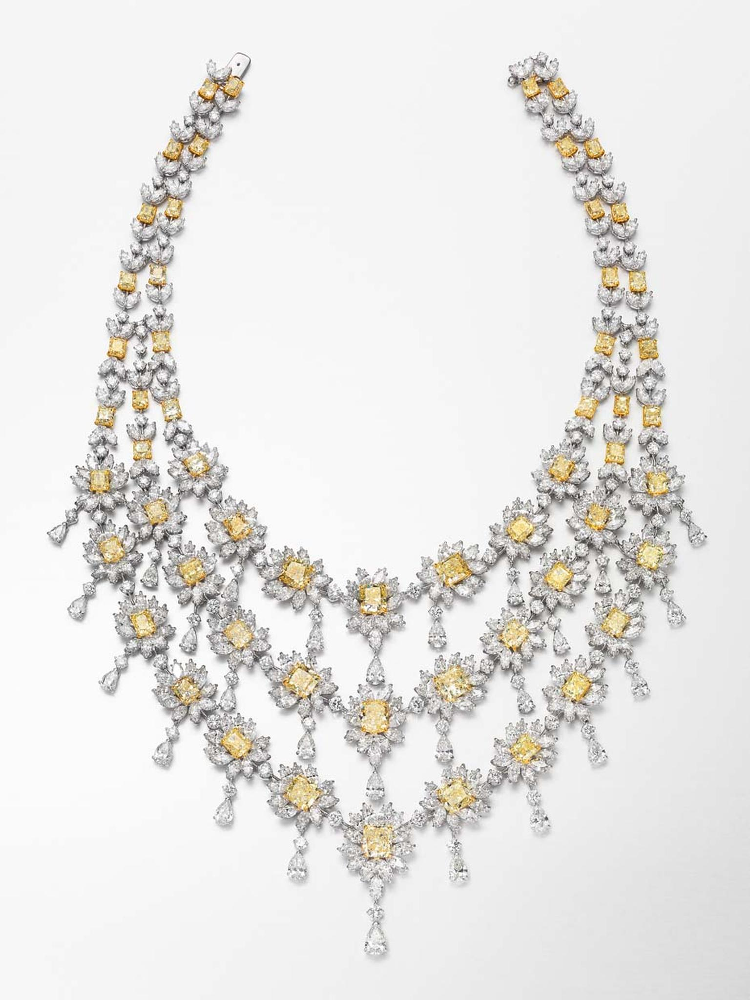 This spectacular three-tier white and Fancy yellow diamond necklace by Butani, which is presented with a pair of matching earrings, is from the High Jewellery collection, which is reserved for royalty.