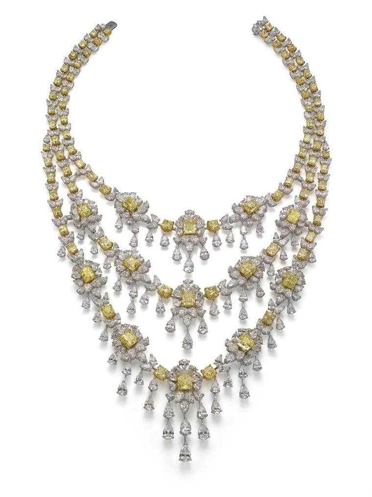 A three-tier necklace from the High Jewellery collection set with certified Fancy yellow diamonds totalling 165ct.