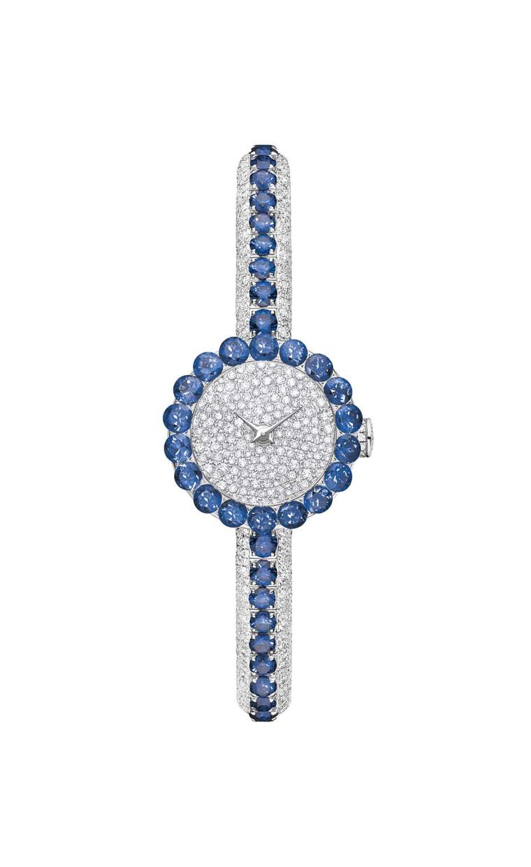 The Dior La D de Dior Précieuse high jewellery watch features 65 sapphires arching across the bracelet and circling the bezel, set into a bed of 999 snow-set diamonds.