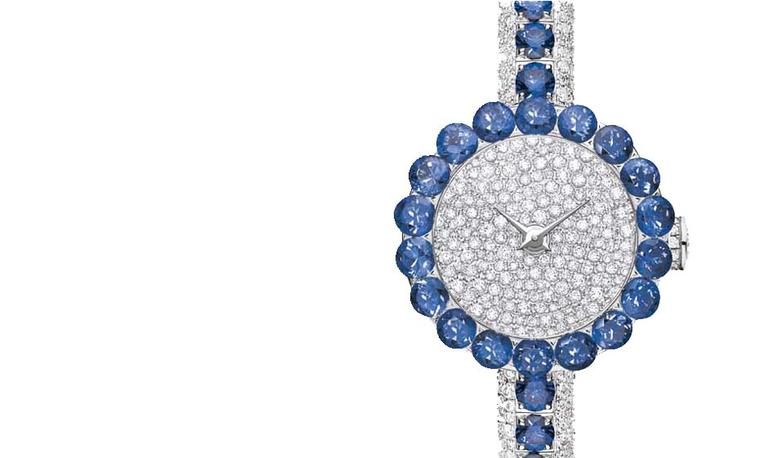 Blue sapphires grace the contours of these exquisite high jewellery watches