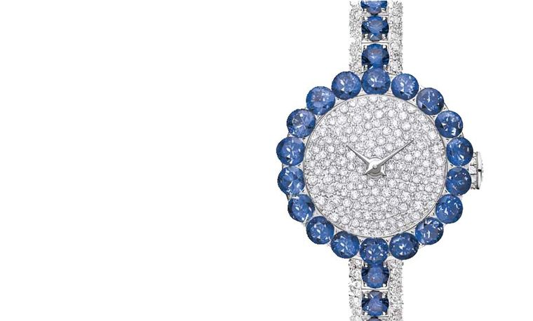 Dior La D de Dior Précieuse high jewellery watch with sapphires and diamonds is presented in a dainty 21mm white gold case.