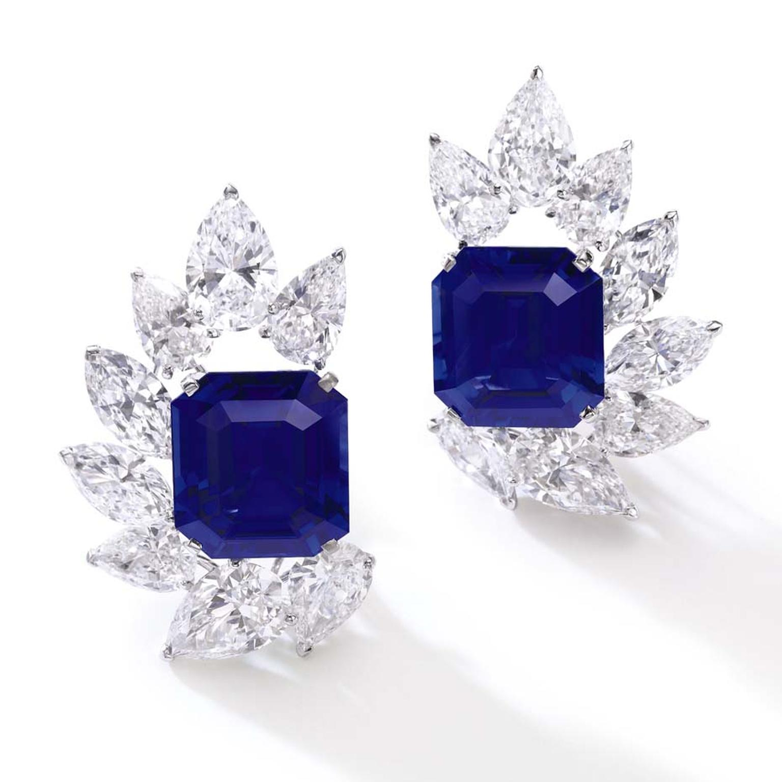This pair of Burmese sapphire and diamond ear clips sold for $3.42 million at Sotheby's Geneva Magnificent Jewels and Noble Jewels spring sale, setting a new world record for a pair of Burmese sapphire earrings.
