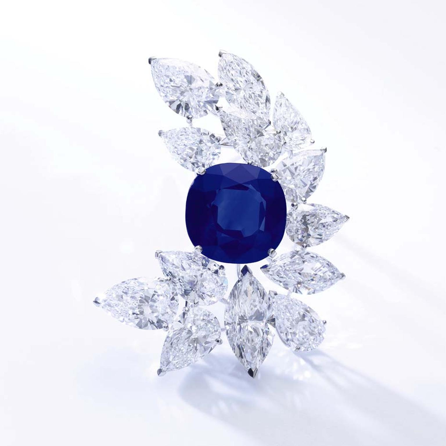 A Cartier brooch set with diamonds and a 27.54ct Kashmir sapphire broke the record for a Kashmir sapphire jewel when it sold for $6.16 million, bringing the total world records smashed to six at Sotheby's Magnificent Jewels and Noble Jewels spring auction