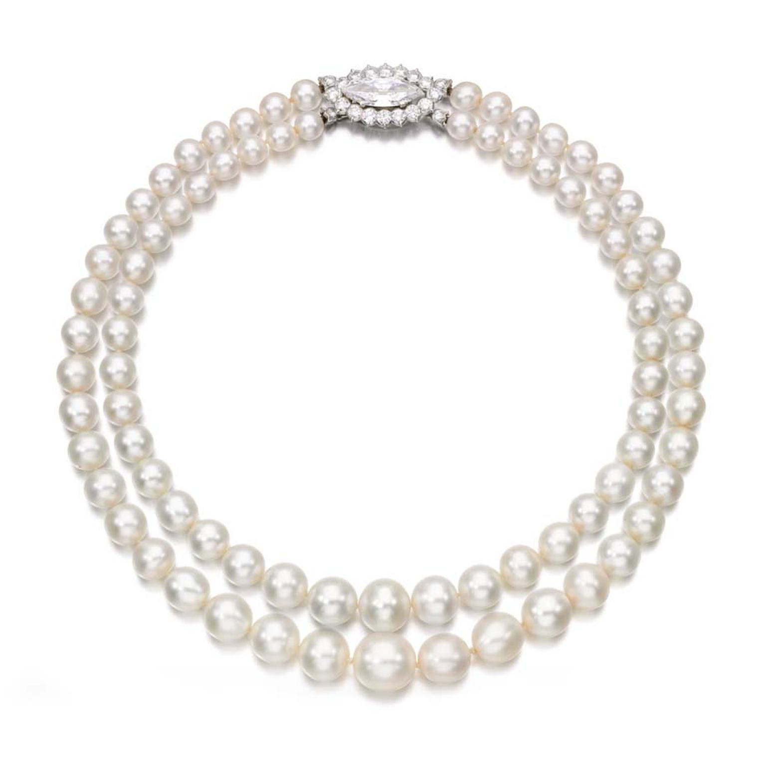 A very rare natural pearl necklace set a new record for a double-row string of pearls at Sotheby's Geneva this week.