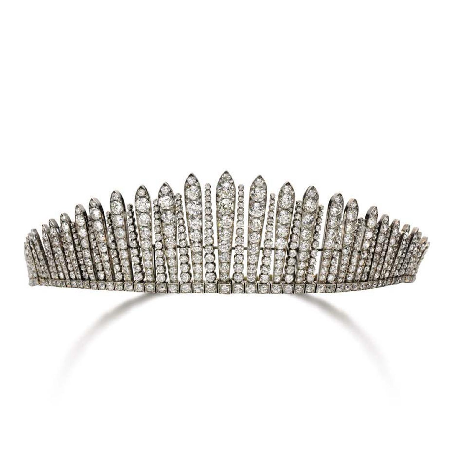 This diamond tiara, which was accompanied by a matching diamond necklace, is thought to be from around 1880 and sold for more than $480,000 at the Sotheby's sale in Geneva.