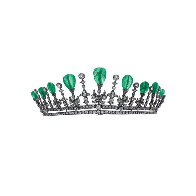 The hammer fell at just over $57,000 for this 20th century emerald tiara with round-cut diamonds and drop-shaped emeralds.