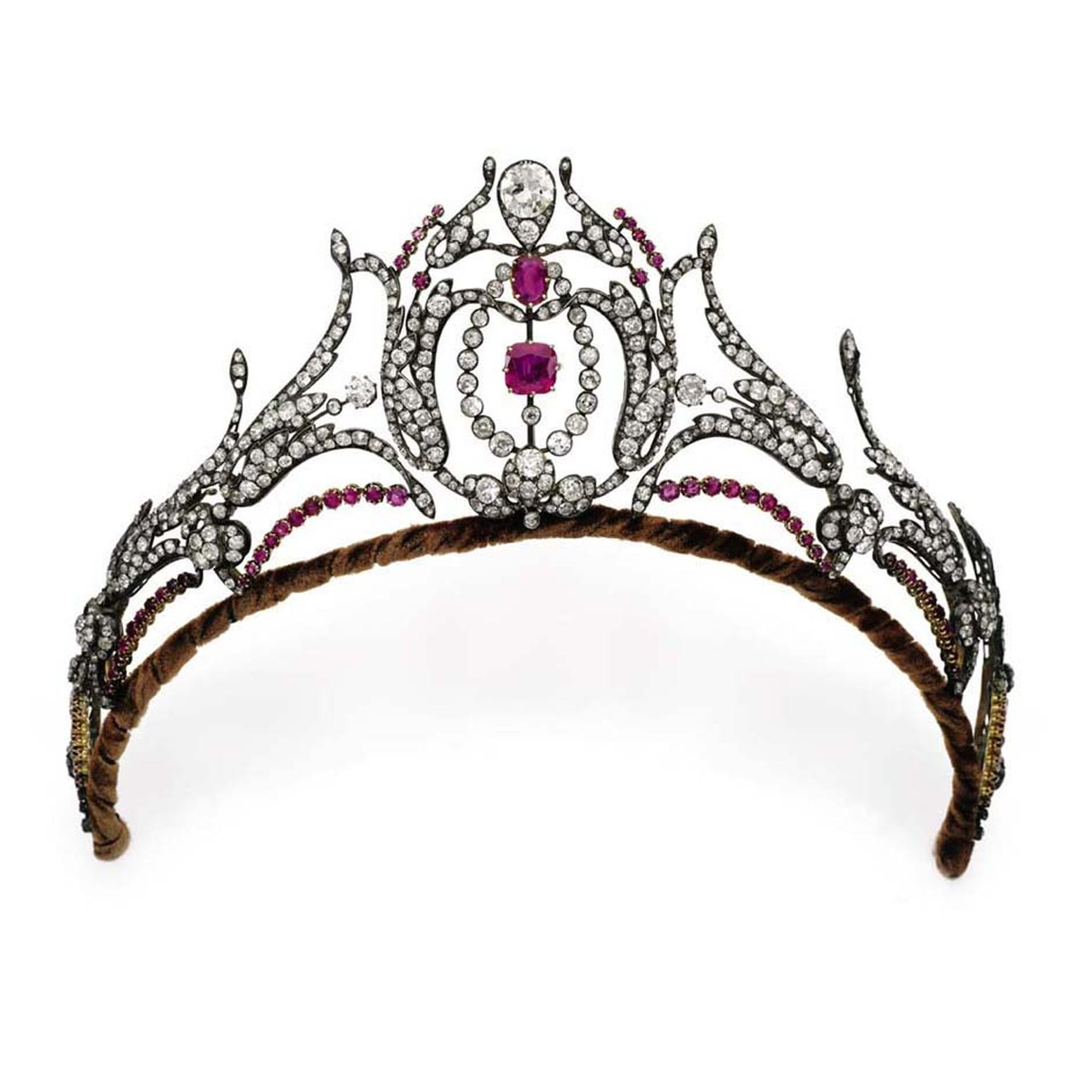 This diamond and ruby tiara, thought to be from the second half of the 19th century, sold for $109,000.