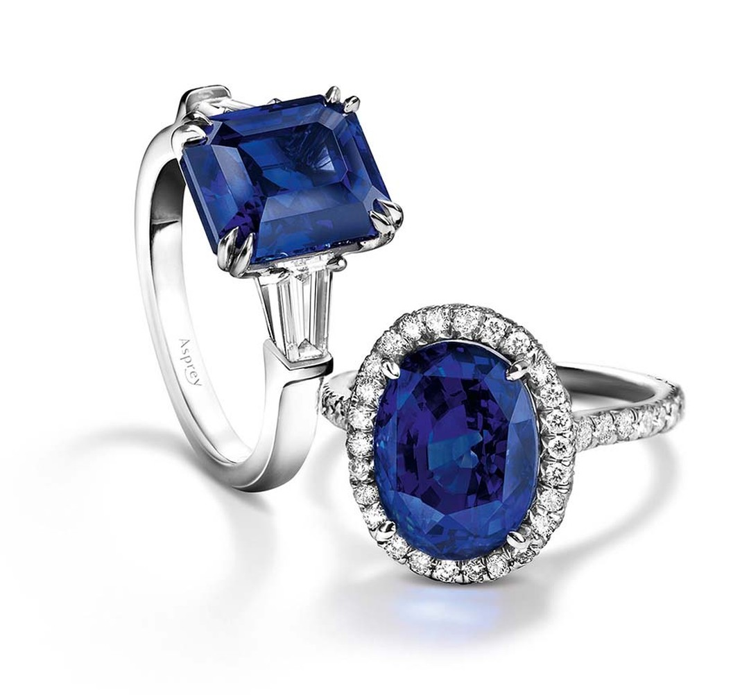 Asprey jewellery engagement rings with central sapphires.