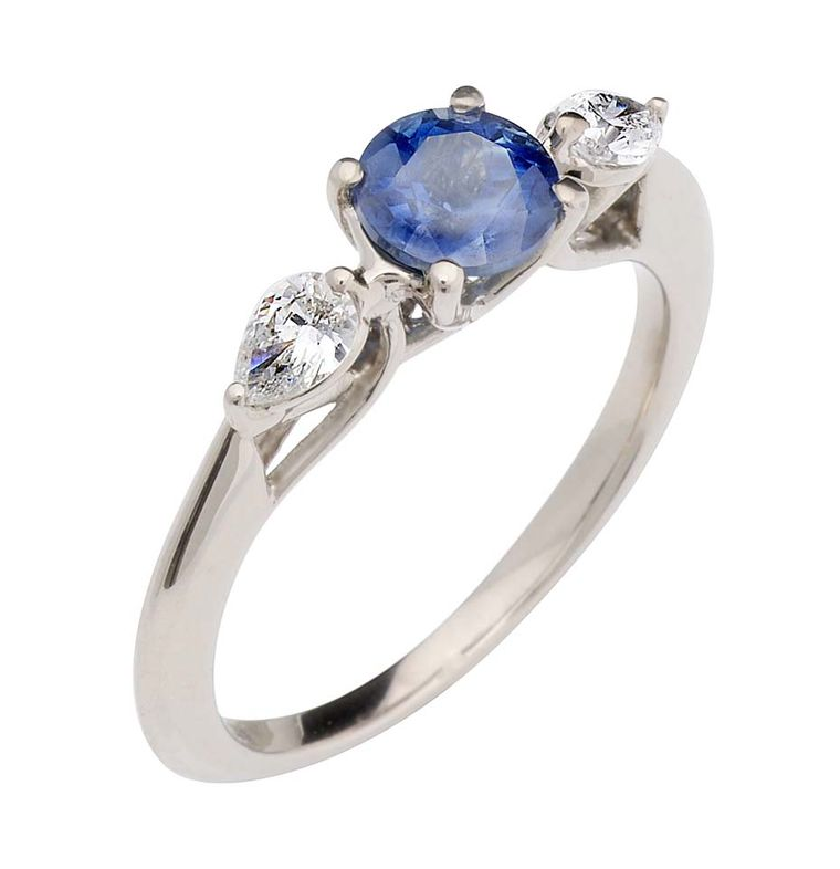 Ethical jeweller CRED puts a modern twist on the timeless trilogy design, with a centrally set sapphire. (£2,175)