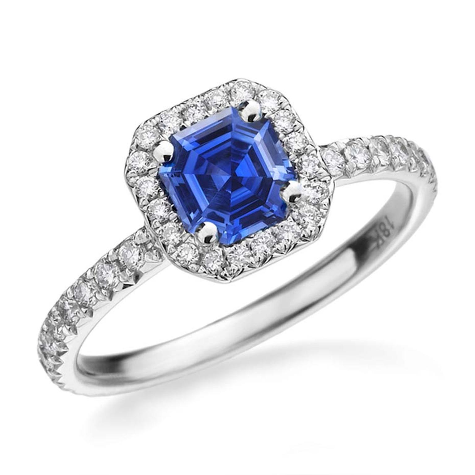 The Royal Asscher cut is usually associated with diamonds, but the multi-faceted cut highlights the blue shimmer in its stunning Spellbound sapphire engagement ring.