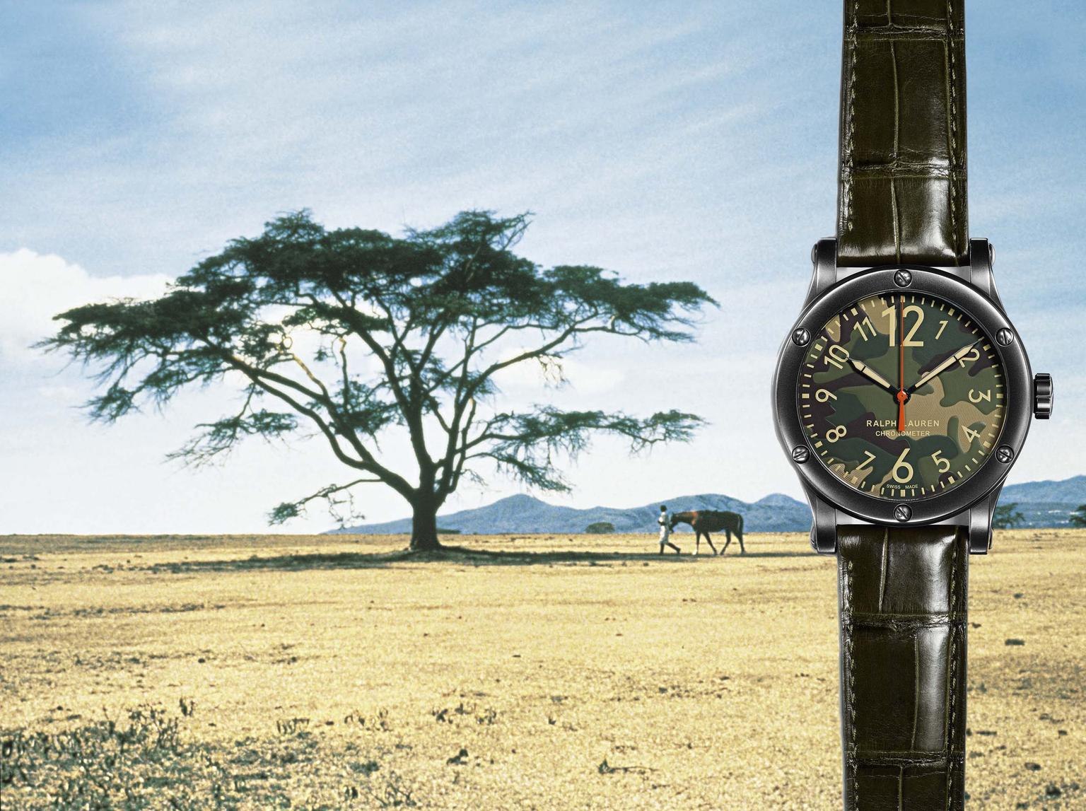 Ralph Lauren RL67 Safari Chronometer with a camouflage dial and a 45mm blackened steel case will appeal to hunters of sports watches who expect Swiss chronometry precision on their adventures.