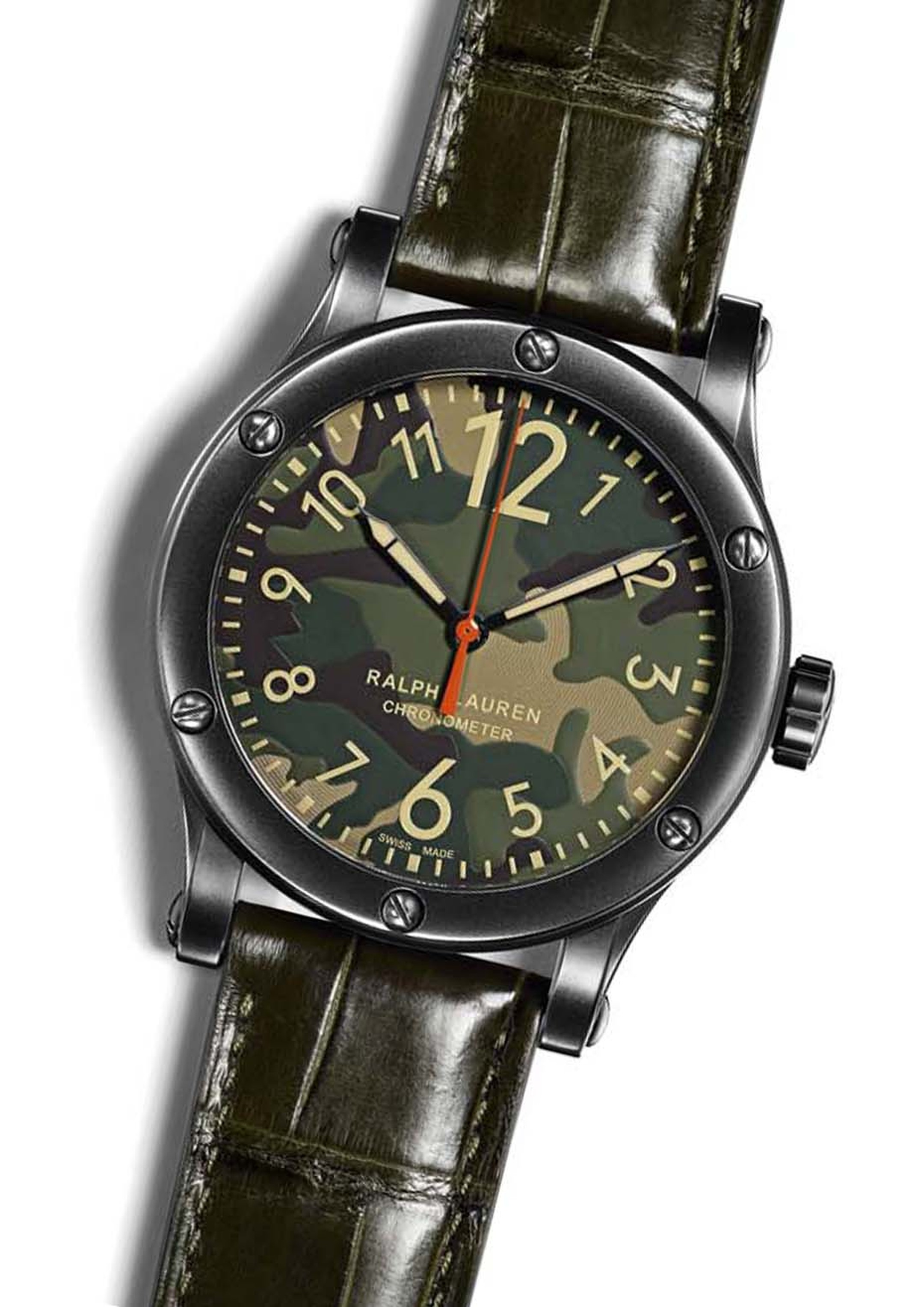 Ralph Lauren watches RL67 Safari Chronometer. Like its brother with the khaki dial, the new camouflage dial watch is equipped with automatic calibre RL300-1, a Swiss COSC-certified chronometer movement water-resistant to 100 metres.