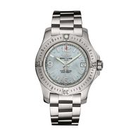 Breitling Colt 36mm ladies' watch with a blue mother-of-pearl dial keeps impeccable time with a chronometer-certified Superquartz movement.