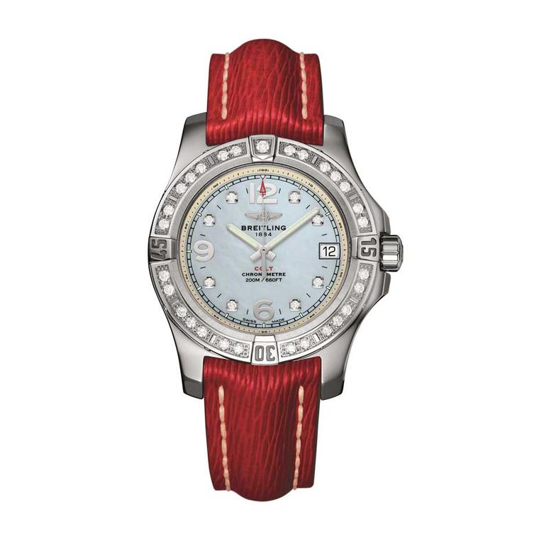 Breitling Colt 36mm ladies' watch with a diamond-set bezel and diamond indices. Like the Superocean, this watch has a screwed-down crown and caseback and is water-resistant to 200 metres.