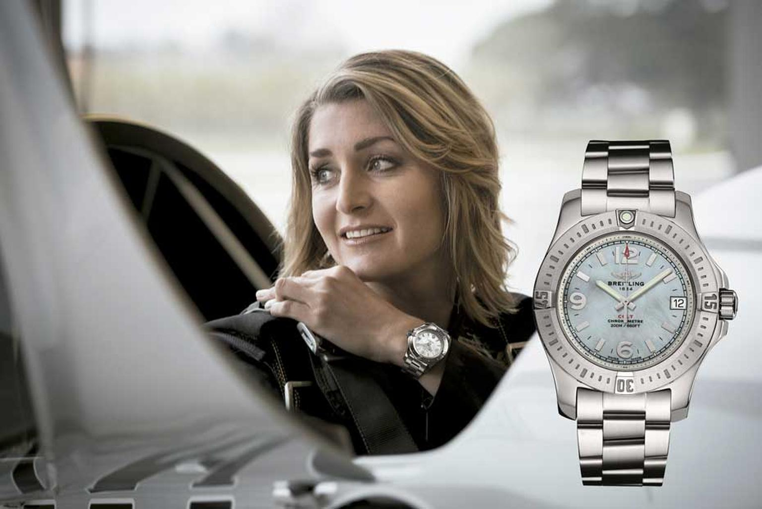 The Breitling Colt watch for women in 36mm stainless steel is the same model worn by pilot and aerobatics champion Aude Lemordant for her thrilling stunts.