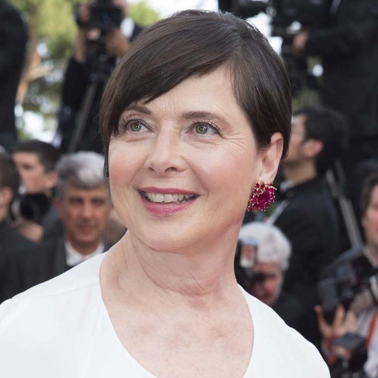 Isabella Rossellini accessorised her Stella McCartney dress with ruby Chopard earrings.
