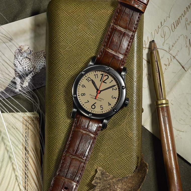 Safari Chronometer 45mm watch with khaki dial