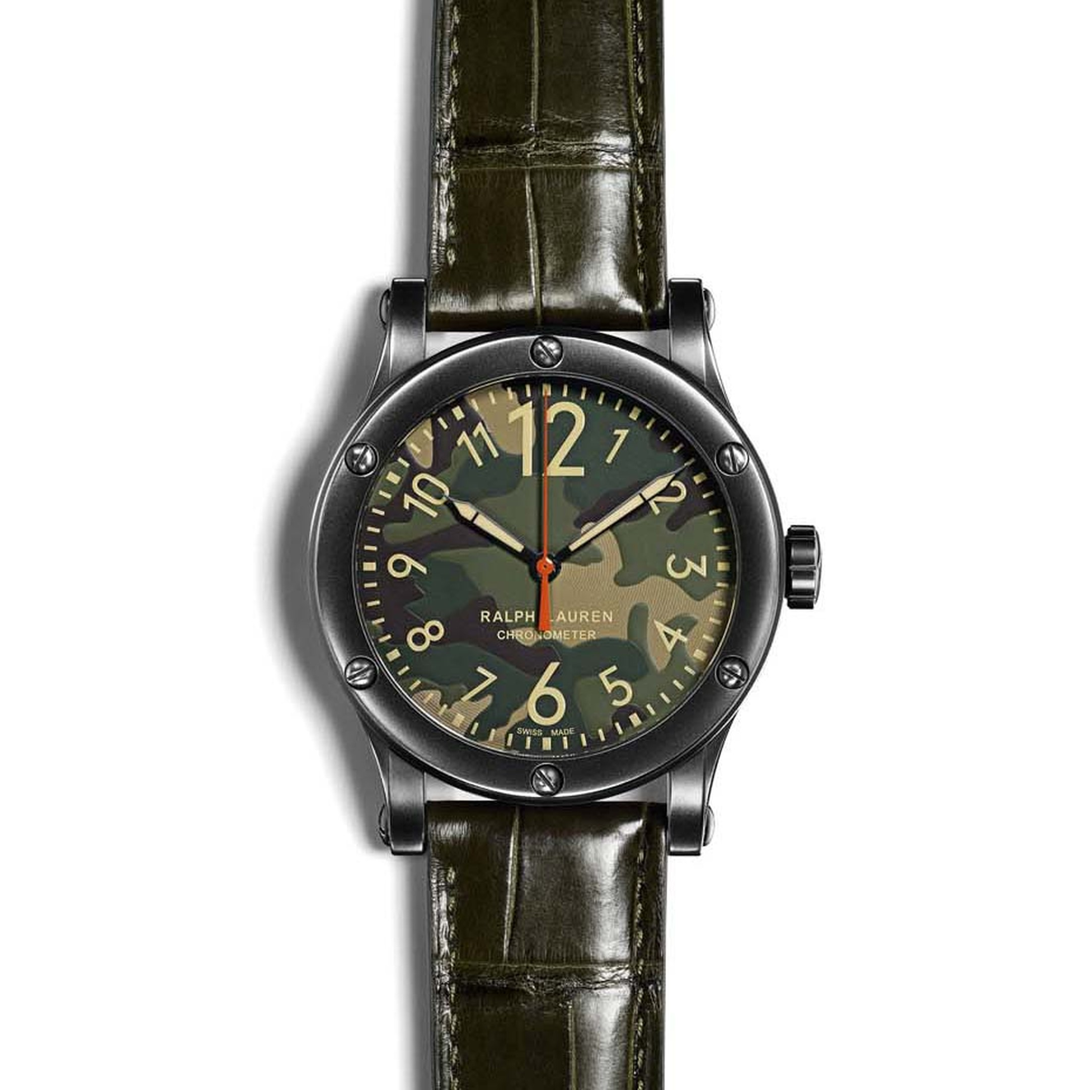 Like its brother with the khaki dial, the new Ralph Lauren RL67 Safari Chronometer with a camouflage dial - available with a 39 or 45mm blackened steel case - is equipped with an automatic calibre RL300-1 - a Swiss COSC-certified chronometer movement, wat