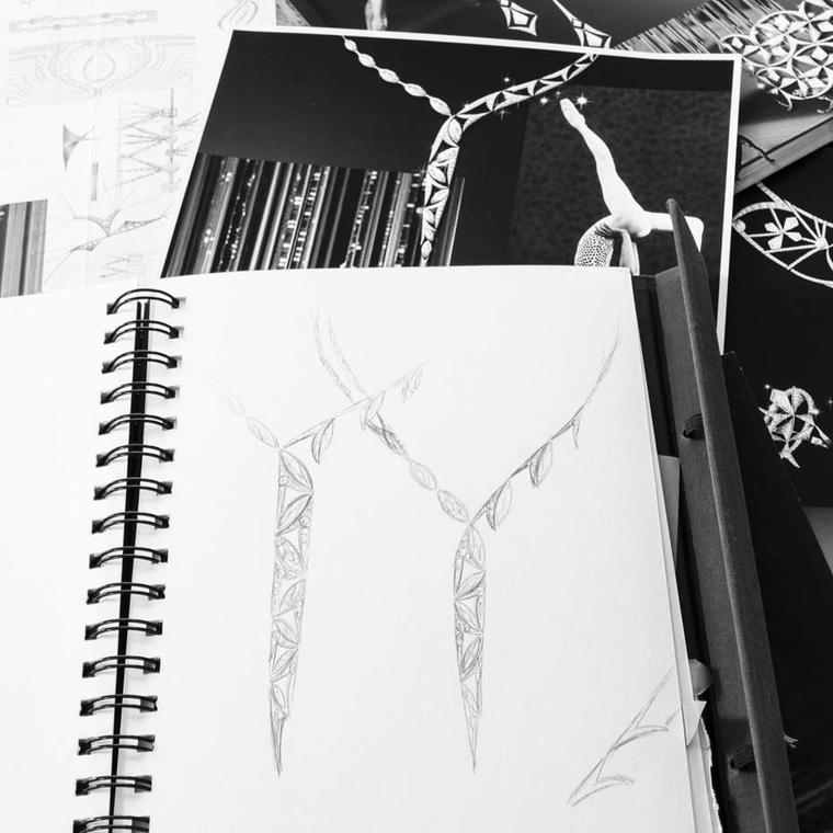 Behind-the-scenes sketches made by Boodles' Head of Design Rebecca Hawkins. As well as sitting in the theatre watching the gravity-defying grace of a polished performance, Rebecca absorbed the atmosphere by discreetly watching the day-to-day reality of li