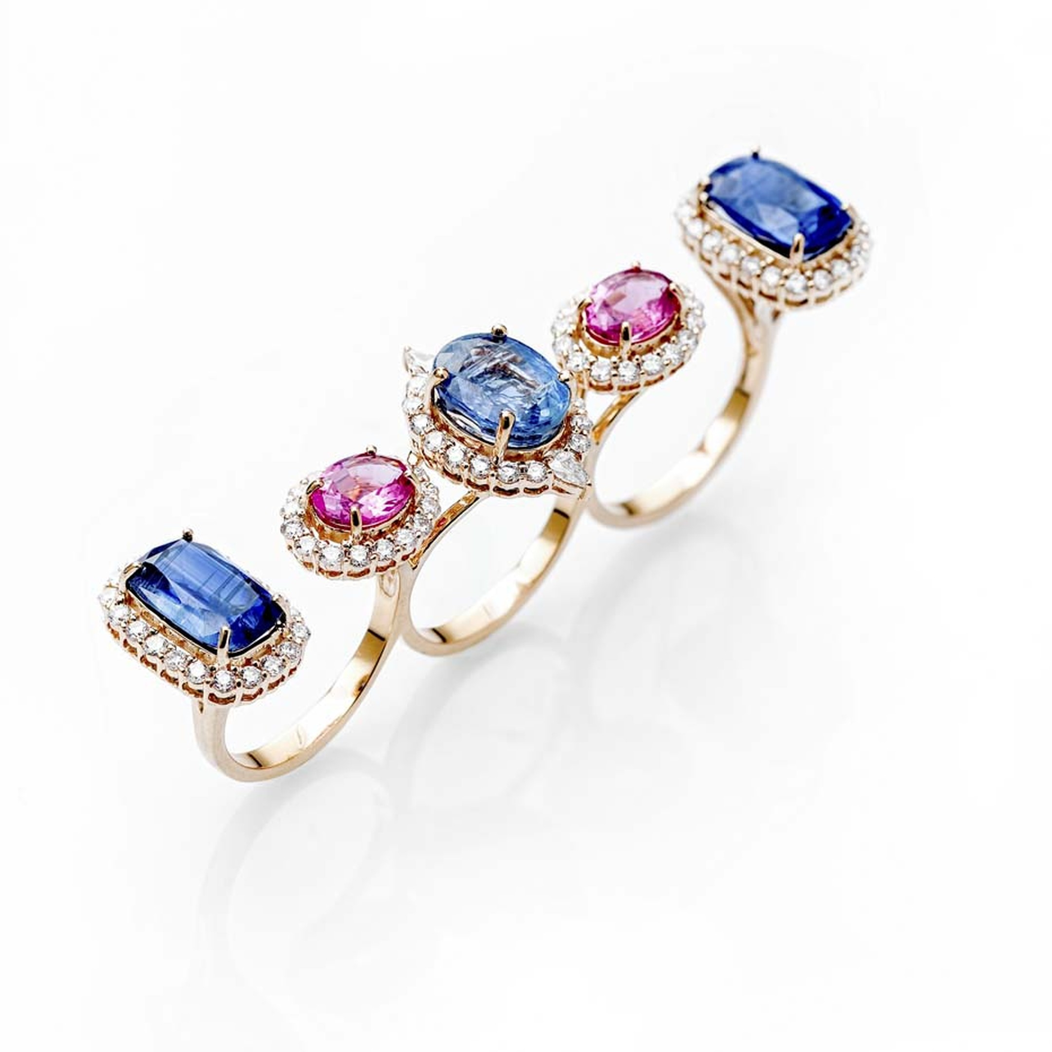 Fahra Khan_Le Jardin Exotique_A multi-finger kyanite, rubellite and diamond ring in 18ct yellow gold by Farah Khan jewellery.jpg