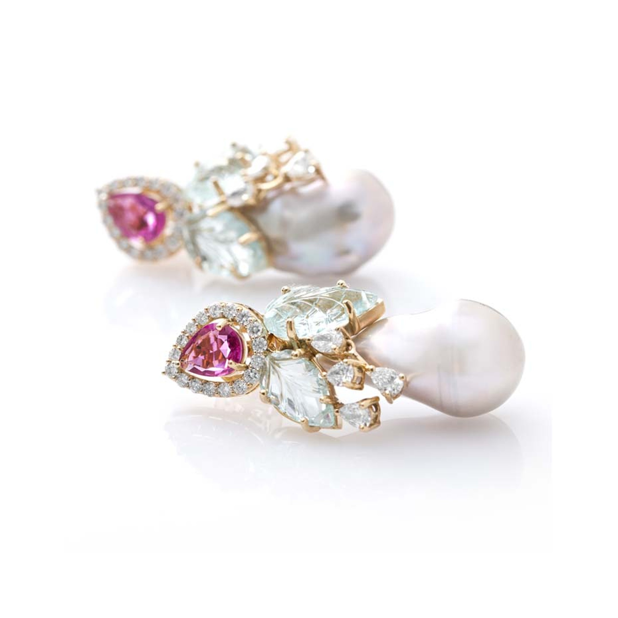 Fahra Khan_Le Jardin Exotique_Baroque pearl earrings in 18ct yellow gold with rubellite, carved leaf aquamarines and diamonds by Farah Khan jewellery.jpg
