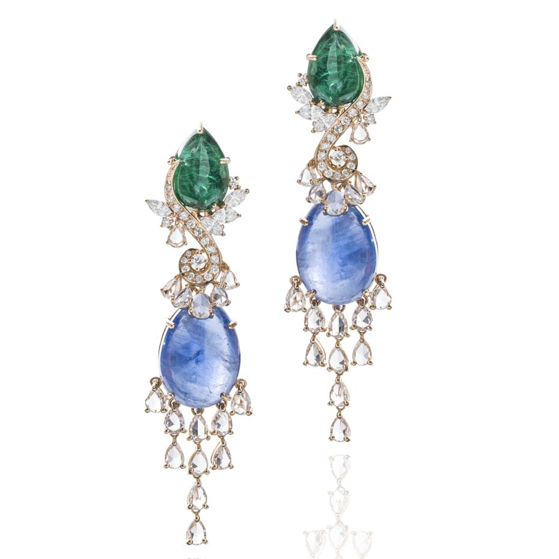 Farah Khan Le Jardin Exotique cabochon emerald, blue sapphire and diamond earrings in yellow gold.