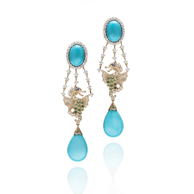 Turquoise, tsavorite and diamond Farah Khan earrings in yellow gold from the new Le Jardin Exotique collection.