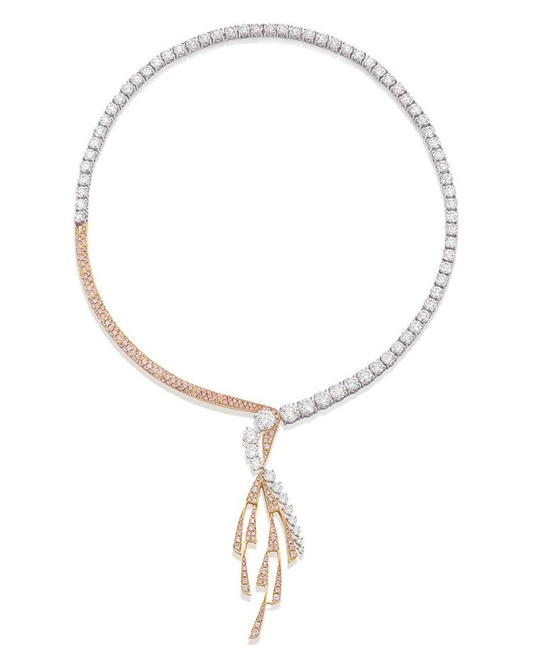 Boodles 'Pas de Deux; Inspired by The Royal Ballet' pink and white diamond necklace (£POA).