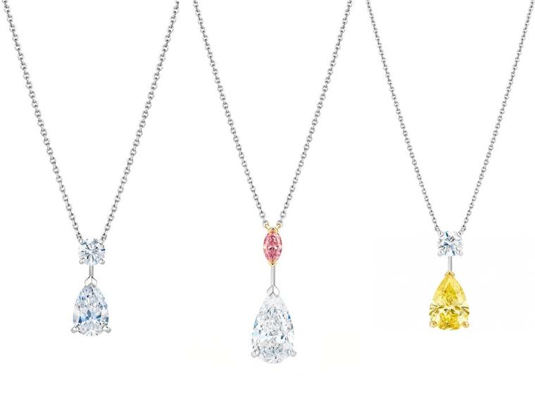 The new Drops of Light collection of De Beers diamond jewellery includes three pendant necklaces. White, pink and yellow diamond options are available, as well as matching earrings that can be worn in two different ways.