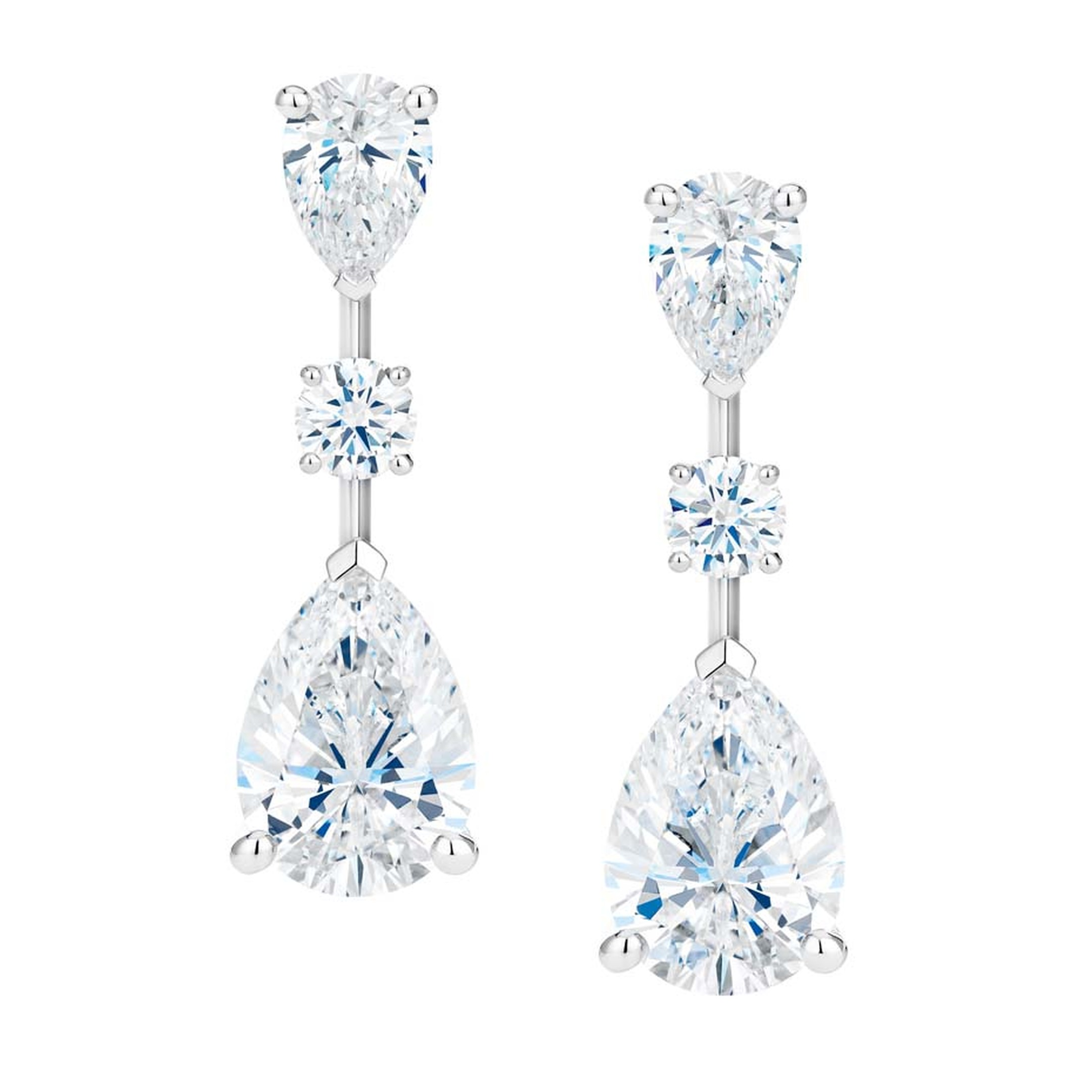 De Beers classic diamond solitaire earrings with detachable diamond drops from the new Drops of Light collection.