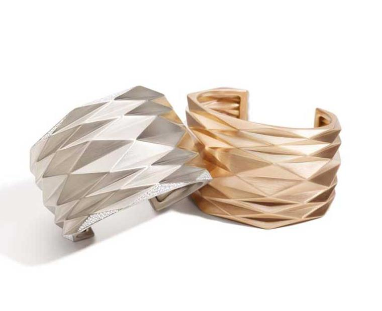 Vhernier white gold and diamond cuff, left, ($33,250) and pink gold cuff ($16,400) from the Pissé collection.