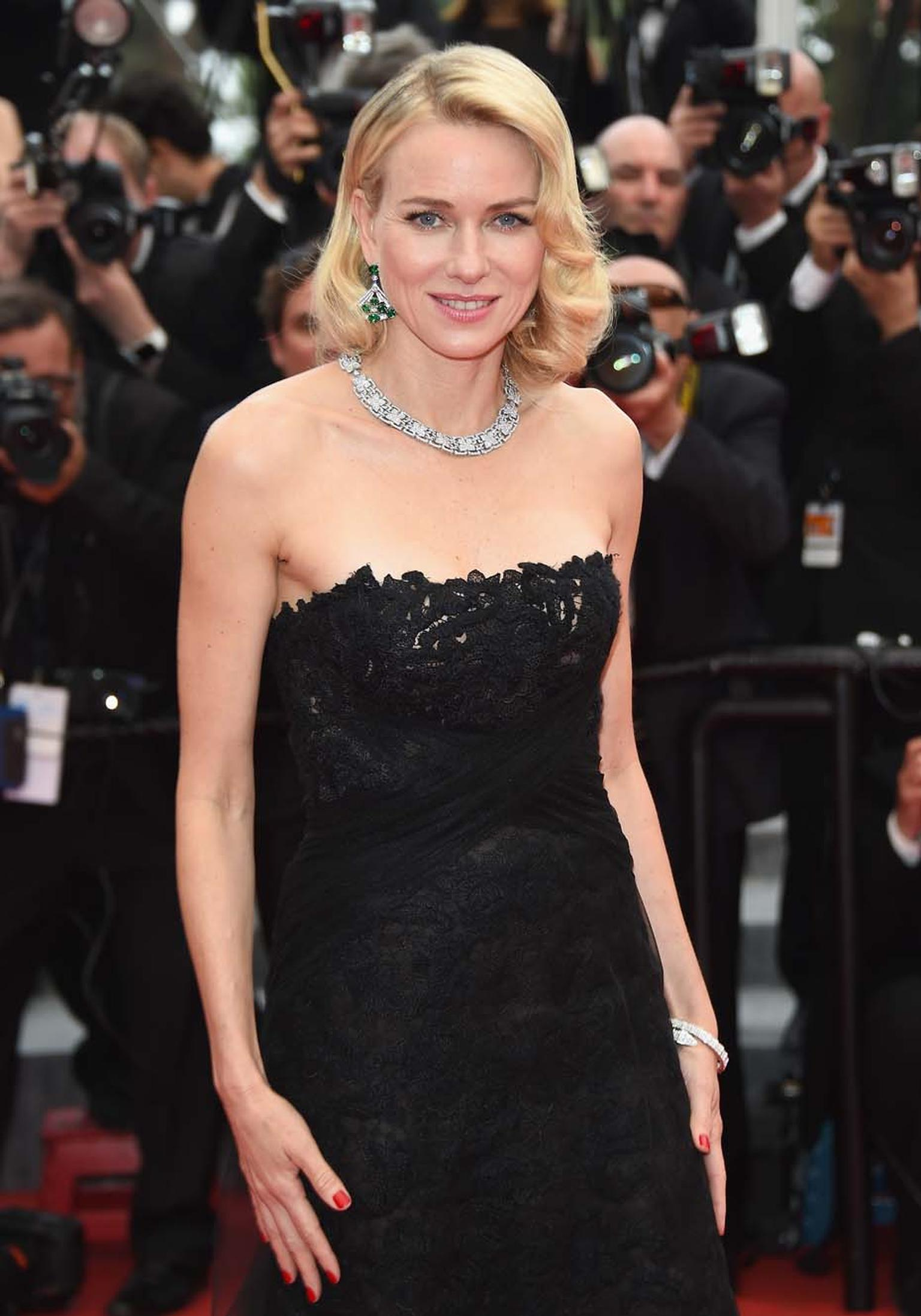 For day two of the Cannes Film Festival, actress Naomi Watts once again wore Bulgari jewellery, this time in the shape of a white gold with round brilliant-cut diamonds and pavé diamond necklace, a pair of high jewellery platinum emerald and diamond earri