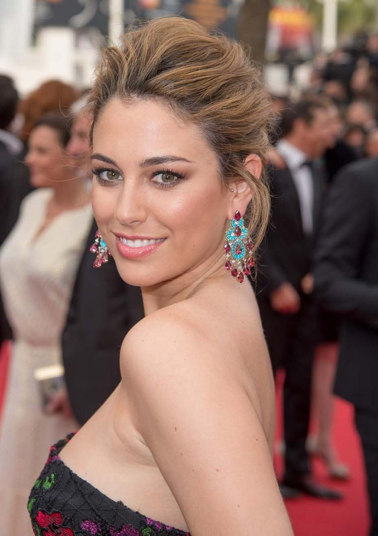 Spanish actress Bianca Suarez dazzled in a pair of earrings from Chopard's Red Carpet collection on day two of the Cannes Film Festival.