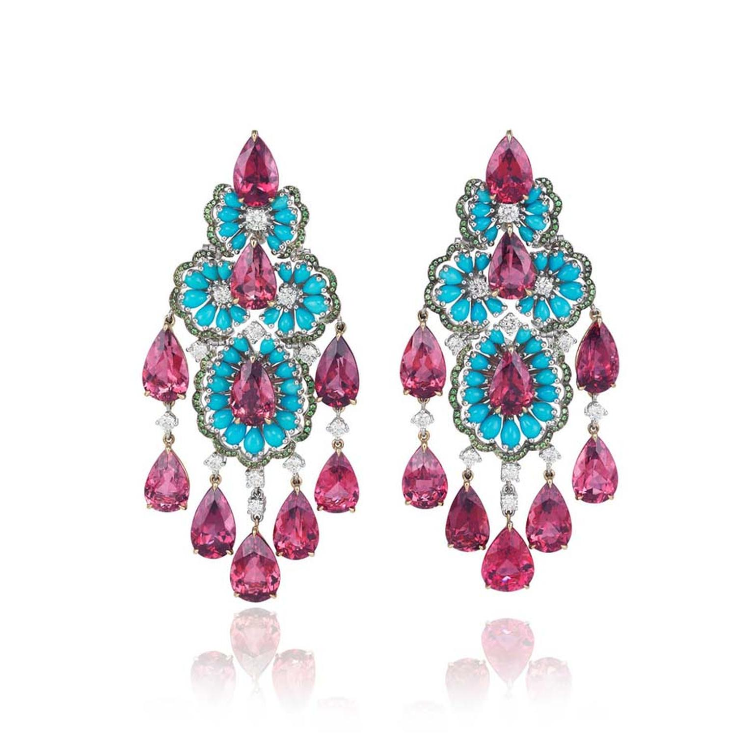 Chopard's Red Carpet collection earrings featuring rubellite tourmalines, turquoises, white diamonds and tsavorites set in 18ct white gold and 18ct rose gold, worn by Spanish actress Bianca Suarez in Cannes.