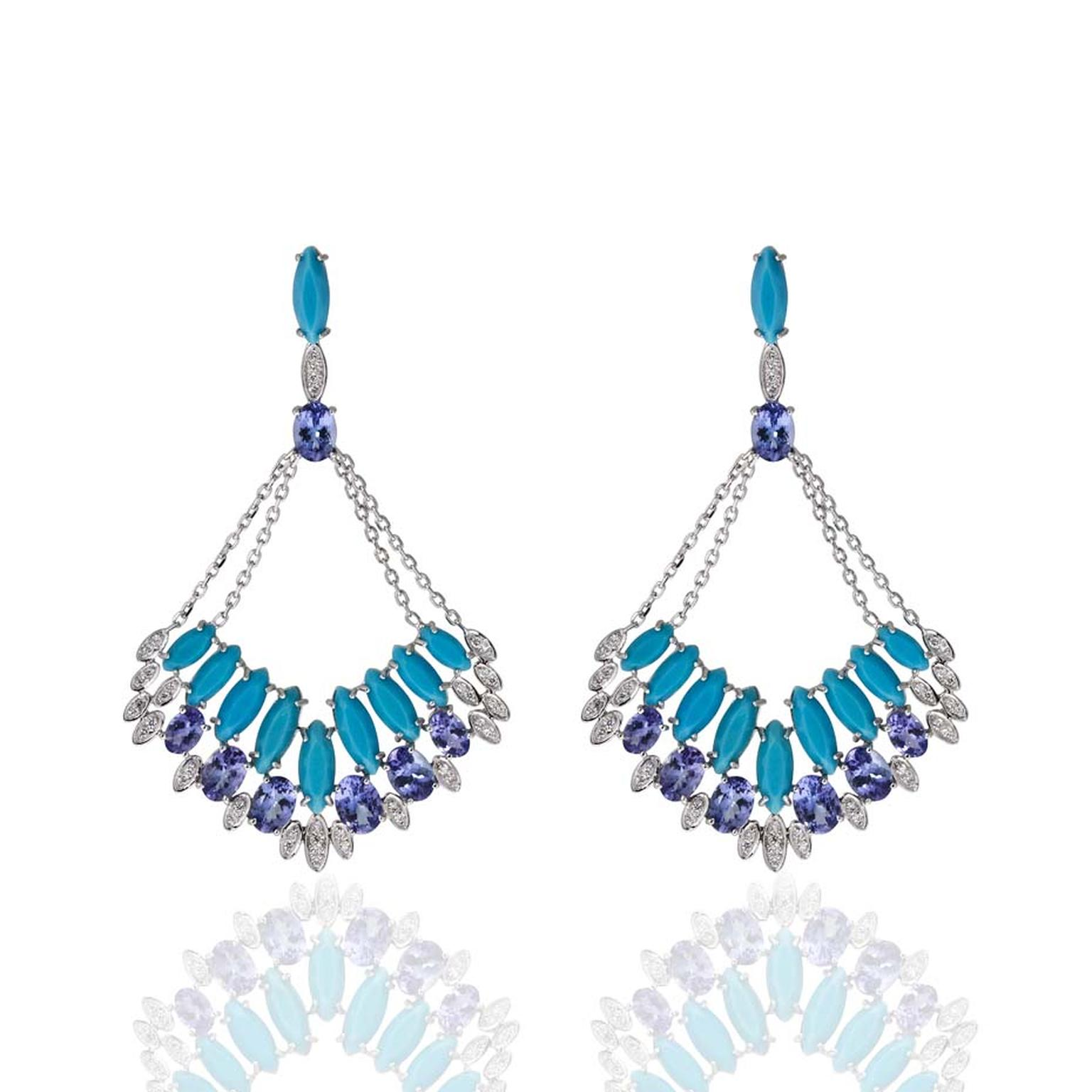 Flor de Pedra Carla Amorim earrings in white gold with turquoise, tanzanite and white diamonds ($12,980).