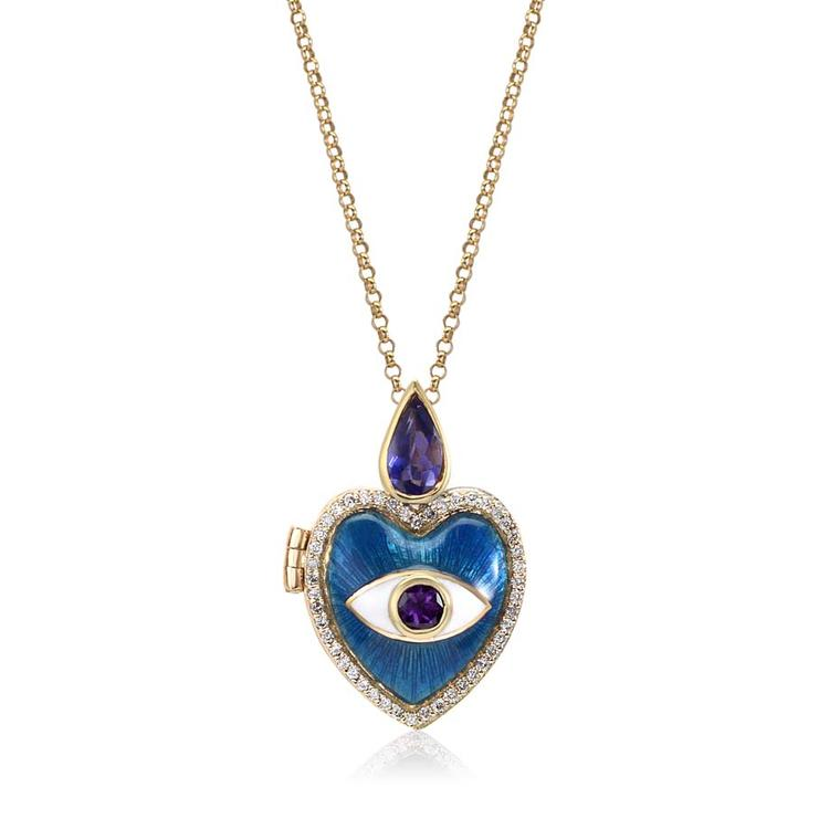 Holly Dyment heart locket with blue enamel, white diamonds, iolite and amethyst in gold ($3,380 from Broken English, New York).