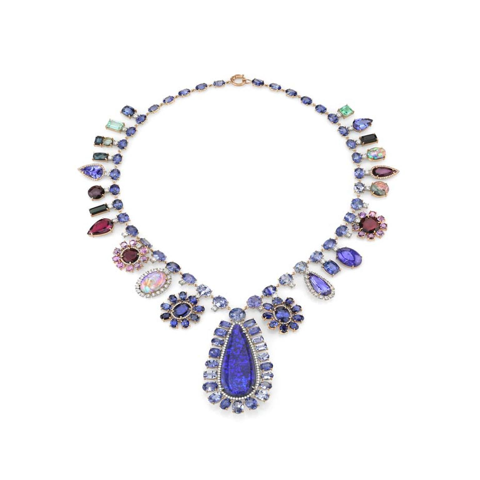 Irene Neuwirth one-of-a-kind rose gold necklace set with Ceylon sapphires, purple sapphires, tanzanites, emeralds, tourmalines, Lightning Ridge opals, diamonds and diamond pavé.