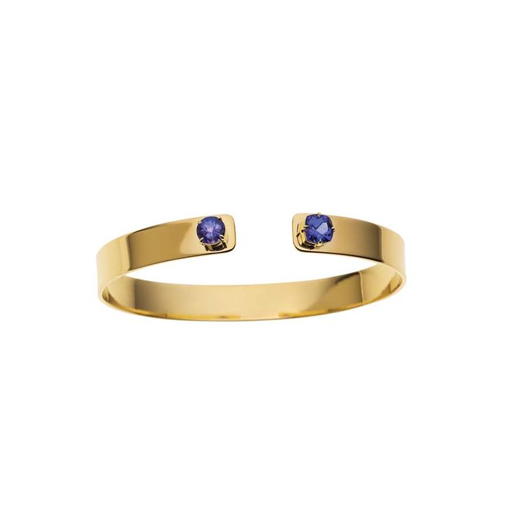 Jemma Wynne open cuff in gold with tanzanites ($7,035).