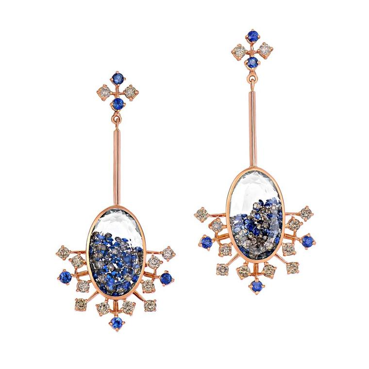 Moritz Glik earrings with champagne diamonds and blue sapphires in rose gold.