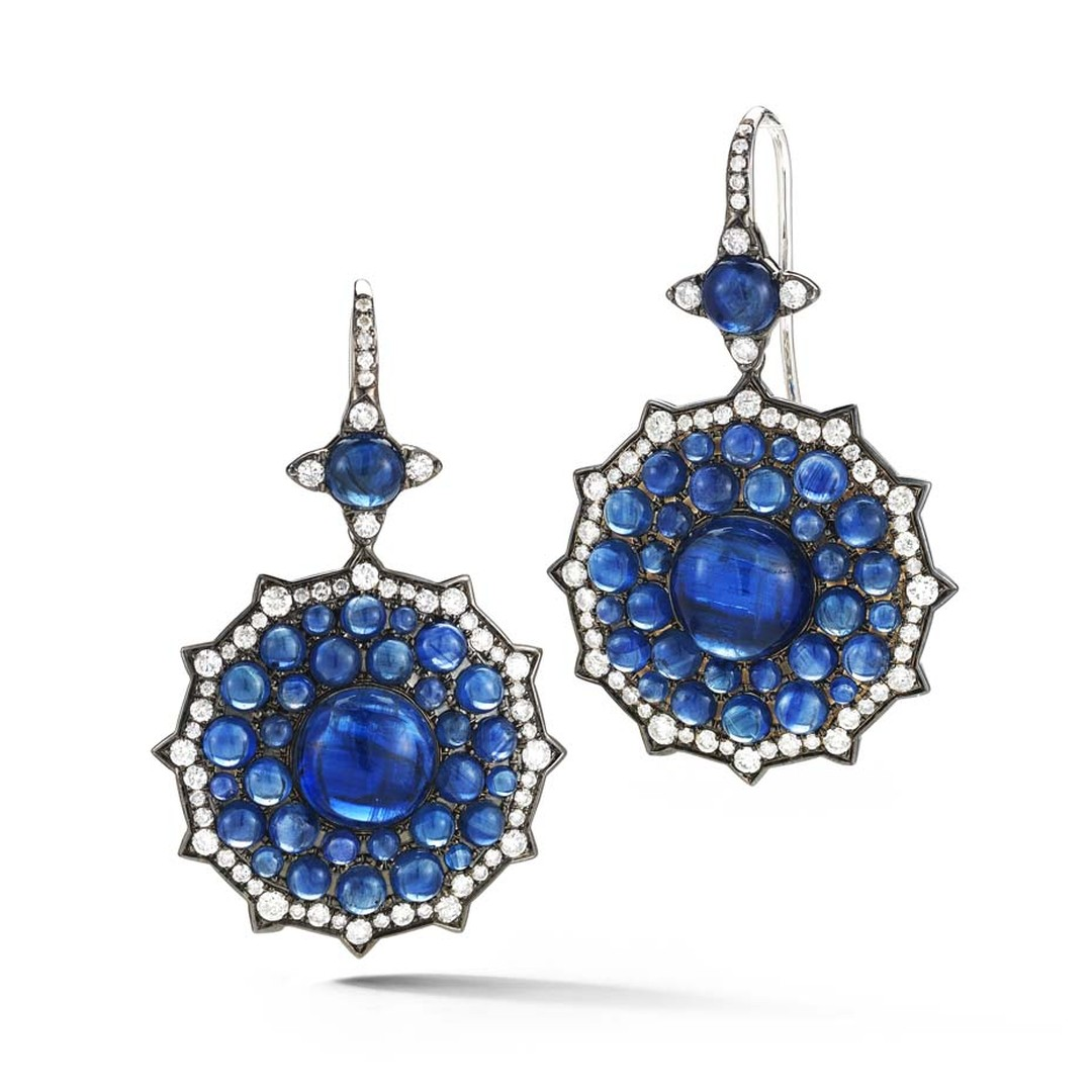 Nam Cho blue sapphire cabochon earrings with white diamonds and kyanite cabochon.