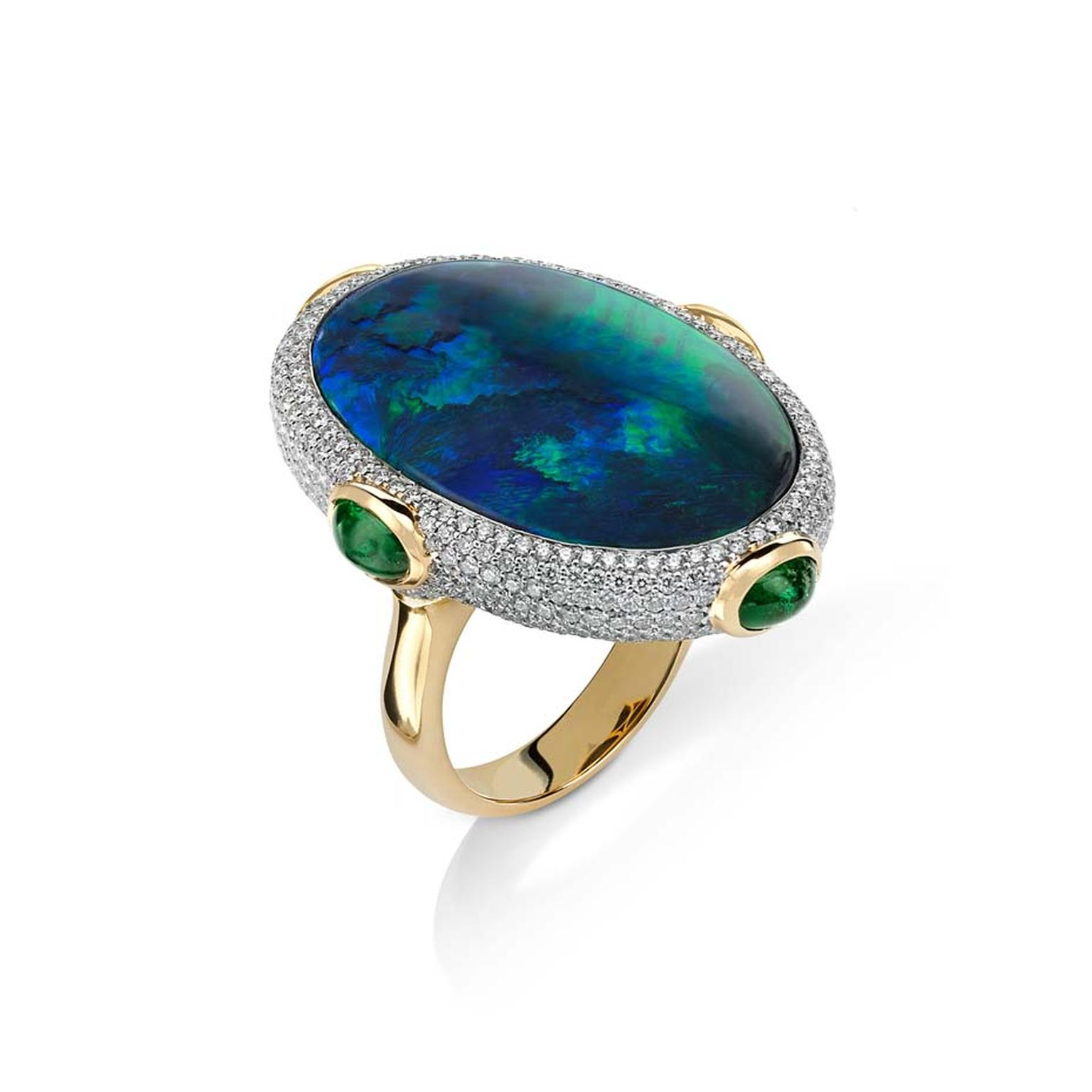 Pamela Huizenga Calypso Australian black opal ring in gold with emeralds and diamonds.