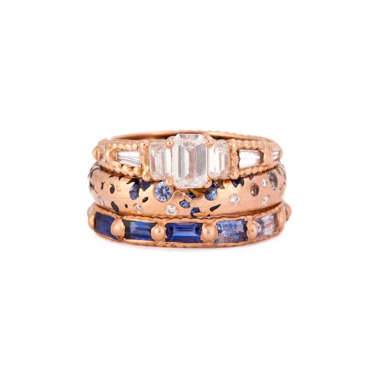 Polly Wales Couture Design Awards Wedding and Engagement selection, including Atrium diamond ring, Ombre blue to white sapphire Confetti ring, and Ombre blue sapphire to white diamond Rapunzel eternity ring.