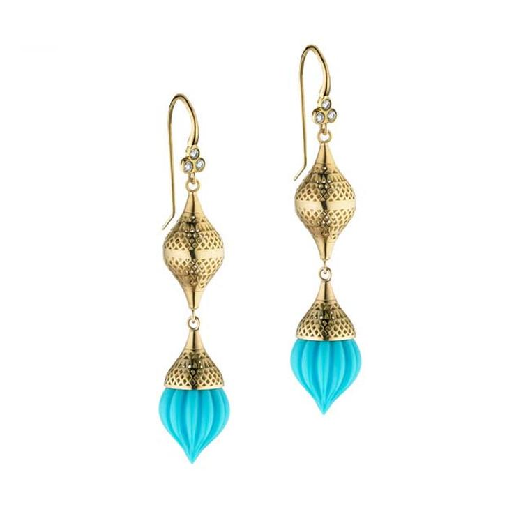 Ray Griffiths Sleeping Beauty turquoise earrings in gold with crownwork finial on triple diamond hooks ($5,690).