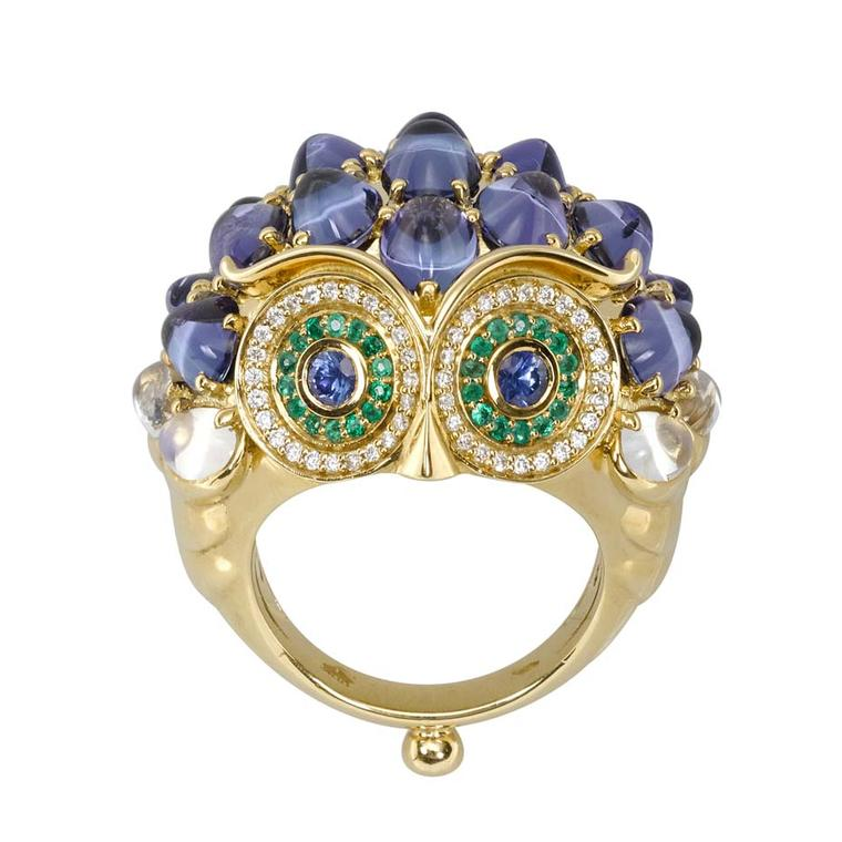 Temple St Clair Owl ring in gold with blue-green tourmalines, Royal Blue moonstones, emeralds, blue sapphires and diamonds ($35,000).