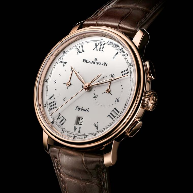 Blancpain's most classic collection, named after the village of Villeret where the brand was born, was expanded with the Chronographe Pulsomètre watch in a 43.6mm rose gold case with a flyback chronograph function.