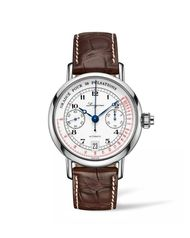 The new Longines Pulsometer Chronograph has an appealing vintage spirit thanks to its white enamel dial and painted numerals. The pulsometer scale is highlighted in red on the periphery of the dial of this 40mm stainless steel model.